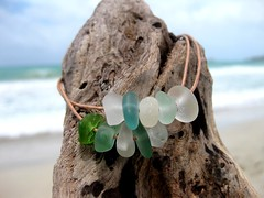 IMG_7575 (LindseysBeachGlass) Tags: blue sea white green beach glass colors leather silver hawaii wire aqua handmade teal jewelry clear bracelet hawaiian earrings seaglass rarecolor olibe