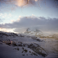 Matterhorn (boscoppa) Tags: mountain lake snow 120 6x6 film zeiss switzerland exposure geneva double matterhorn ikon reala nettar fuljifilm