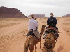 Mark and Larry at Wadi Rum, Jordan (LarrynJill) Tags: travel vacation travelling nature animals sand nikon asia desert mark wadirum middleeast adventure jordan camel larry coolpix camels 2014 camelriding jordanandcyprusvacation