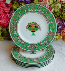 Early Wedgwood Porcelain Dinner Plates Green Florentine Fruit Basket Dragons (Donna's Collectables) Tags: wedgwood porcelain dinner florentine fruit dragons thanksgiving christmas