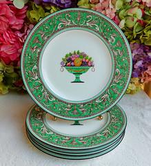 Early Wedgwood Porcelain Dinner Plates Green Florentine Fruit Basket Dragons (Donna's Collectables) Tags: wedgwood porcelain dinner florentine fruit dragons thanksgiving christmas
