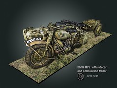 BMW R75 W_sidecar & ammo trailer ((The) Appleman) Tags: military wwii 8 camouflage bmw ww2 motorcycle trailer ammo ammunition sidecar jf wehrmacht waffen fotocreations barvarianmotorworks novaman396 theappleman infanterieanhnger