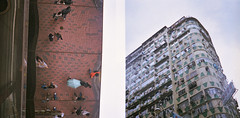 En haut, d'en bas ((stephenleopold)) Tags: hongkong reflet  kowloon immeuble kodakportra160nc zeissikontaxona