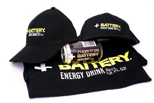 Battery caps, t-shirt and Sugarfree can by Energy Drinks Ltd