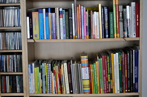 cookbooks in the bookshelf