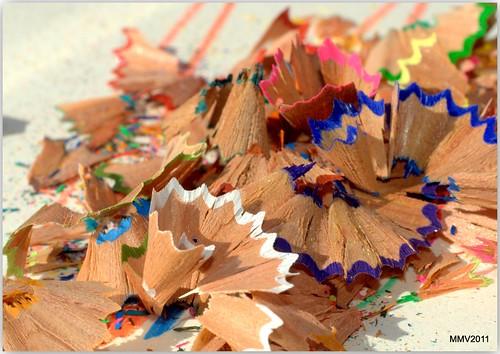 virutas de lápices de color