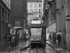 ...Jumbo 24... (angex66) Tags: urban italy milano tram bn 24 luci pizzeria atm jumbo ombrello binari vigentino