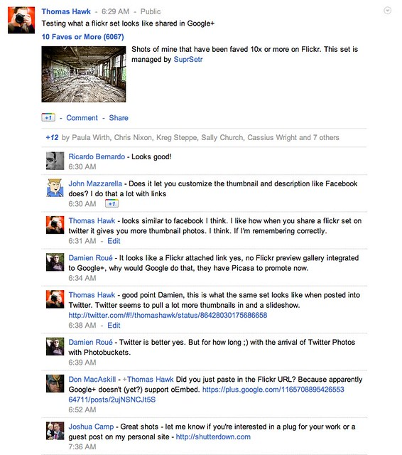 What a Flickr Set Looks Like When Shared on Google+