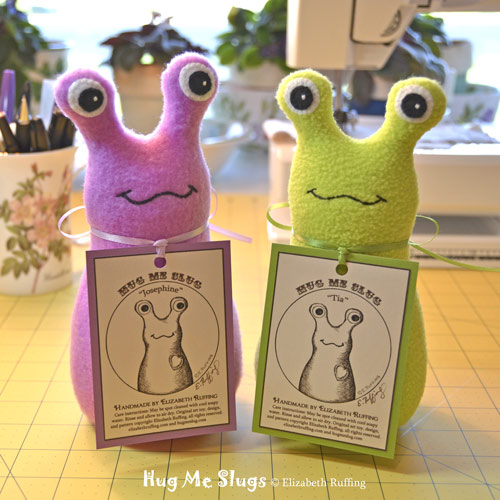 Orchid and Bright Light Green Fleece Hug Me Slug Art Toys by Elizabeth Ruffing