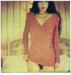 red dress (philippe bourgoin) Tags: portrait colour girl polaroid sx70 nathalie editorial expired fade2black