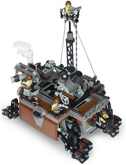 Tortoise-Class Siege Steam Octo-Pedalship Mk. LXII (deck) (aillery) Tags: electric war power lego military great tortoise platform steam mortar walker artillery motor machines functions eight siege legged steampunk howitzer pedalship