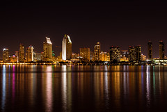True Reflections (Sairam Sundaresan) Tags: ocean longexposure bridge orange colour night canon reflections coast sandiego dramatic fullmoon moonrise shore 7d coronado sandiegoskyline coronadoisland canon7d