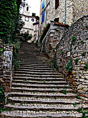 Escalier du Pater Noster (overthemoon) Tags: old blue france clock church stairs town weeds village stones steps shutters geraniums escalier hdr gettyimages paternoster cordessurciel midipyrénées 1j1t