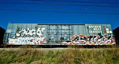 Much, Bobcat, Keys (TheHarshTruthOfTheCameraEye) Tags: california train keys graffiti three fuck famous letters service law much hcm bobcat hm northern freight goldenwest ftl twb ibd goldenwestservice benching fuckthelaw bobkat bkat famousthreeletters