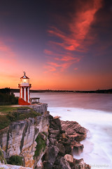 Hornby Lighthouse at Sunset (-yury-) Tags: ocean sunset sea sky cliff lighthouse seascape water rock landscape photography harbour sydney australia nsw hornby southhead