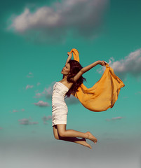Melba! (Erica Perry) Tags: sky orange clouds flying jump pretty teal floating melba levitating