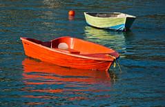 Orange and Green Reflections (Jocey K) Tags: sea water boat canterbury nz bankspeninsula buoy akaroa dingie