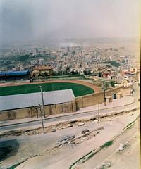 Anatole Watches Over The Sunrise (iconicturn) Tags: 120 analog mediumformat turkey stadium mardin mesopotamia kurdistan anatolia footballstadium mamiya7 mardinspor