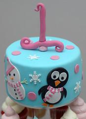 Winter Wonderland Cake (CupcakeTreats) Tags: birthday pink blue winter cake penguin 1 snowman vanilla wonderland