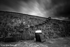 (Claire Hutton) Tags: uk longexposure england sky blackandwhite bw motion monochrome sign stone wall clouds contrast aquarium mono movement open britain outdoor steps windy overcast wideangle le dorset gb cobb leaning dull bollard lymeregis csc lean thecobb ndfilter jurassiccoast 10stop nd110 10stopper sonynex5r samyang12mmf20