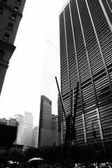 Disguised (Livesey's) Tags: 550d canon eos portrait blackandwhite bw cityscape disguise sky reflections reflection film people newyork new york ny nyc city