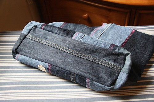 denim tote bottom sewn