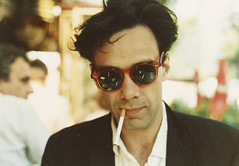 Colin de Land wearing sunglasses, ca. 1980