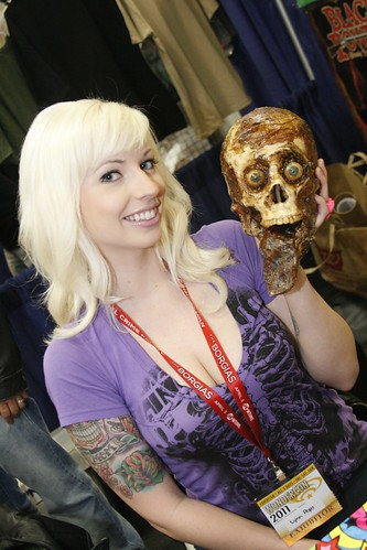 Candid Girl with Zombie Skull