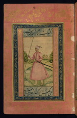 Album of Persian and Indian calligraphy and paintings, A young Mughal courtier with a spear, Walters Manuscript W.668, fol.57a (Walters Art Museum Illuminated Manuscripts) Tags: india illustration painting miniature persian poetry iran album 17thcentury indian 19thcentury illumination literature calligraphy 18thcentury islamic accordionbook waltersartmuseum 16thcentury nineteenthcentury mughal qajar safavid sixteenthcentury eighteenthcentury seventeenthcentury httpthedigitalwaltersorg