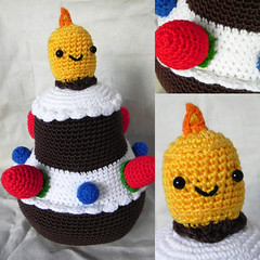 Crocheted B-day Cake (Marlou V) Tags: birthday dog baby cute animal cake fruit cat toy japanese stuffed doll candle crochet felt flame kawaii fancy bday amigurumi kawai huggable