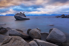 Bonsai (Willie Huang Photo) Tags: sunset lake storm mountains nature water landscape rocks scenic tahoe laketahoe sierra boulders bonsairock