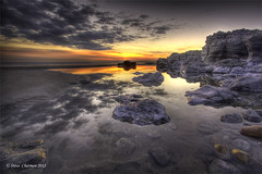 Rock Pool Sunset (Steve _ C) Tags: uk sunset sea pool rock wales clouds canon coast sand wideangle lee 1740 2012 porthcawl restbay giottos ndgrads 5dmk11 stevecahtman