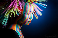 Rainbow Stripes (Ilko Allexandroff (a.k.a. sir_sky)) Tags: lighting blue portrait white detail beauty canon japanese rainbow nikon colorful dish mark stripes flash optical ring ii backdrop 5d setup information gel straws slave sb26 strobist