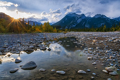 Sun Falling (Quincey Deters) Tags: 2016 alberta allrightsreserved autumn canada cloud colourimage dusk evening fall horizontal jasper jaspernationalpark landscape lensflare mountain nature northamerica outdoor peak reflection river rock september sky snaringriver summer sun sunray sunburst sunlight sunset tree water waterreflection quinceydeters