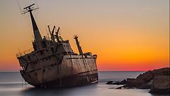 Edro III Shipwreck (mistersteeb) Tags: edro iii shipwreck edroiiishipwreck sunset golden hour colour ship canon 50mm cyprus travel sea ocean rocks longexposure