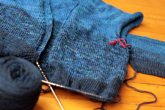 Ombre Cardigan - in progress