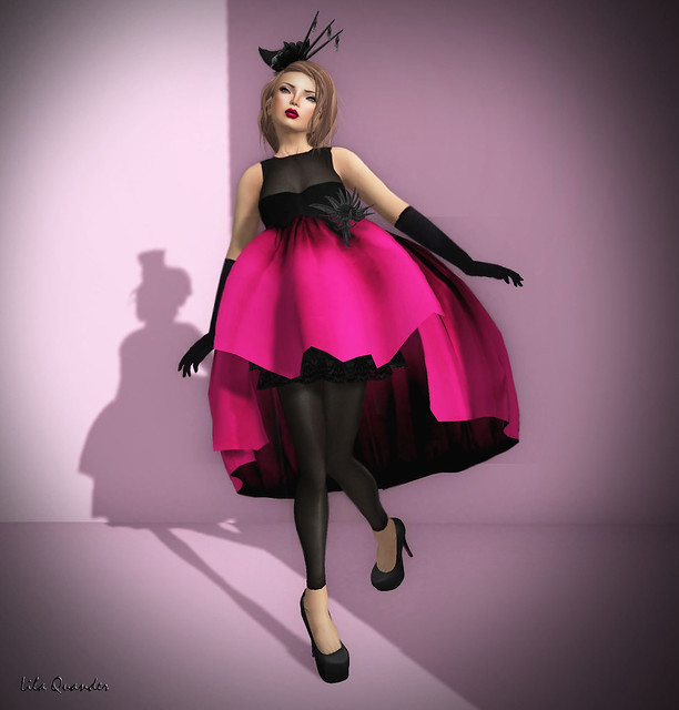 -Glam Affair - Linda Dress - Gown whit black flower - Fuxia