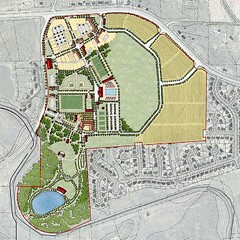 """""""park and village"""" scenario , with site clearing and land banking (by: Dover, Kohl via draft Redevelopment Plan)"""