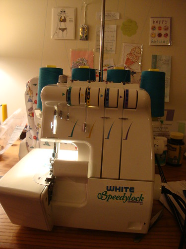 the serger---Antoinette showed me how to use it--tension needs work..