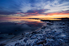 Rocky Shores (Explored) (ashergrey) Tags: longexposure sunset utah greatsaltlake landart promontory boxelder spiraljetty
