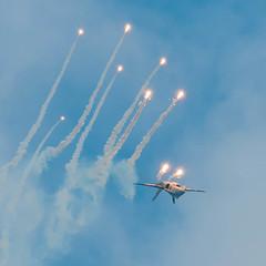 F-18 Hornet deploying flares (HKangas) Tags: show force air lapland flare nordic hornet finnish f18 command lapin fa18 luleå f21 2011 kallax flygetsdag lennosto