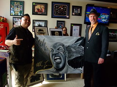 More from ManCave Memorabilia:  I'm posing with Vincent Badrok Concepcion who's displaying a great portrait he did of Mike Tyson (fitzjim) Tags: art sports sport tattoo painting artist drawing meeting mao boxer actor halloffame boxing kron sanmateo collectibles wwe memorabilia appearance hof cheguevara signed autographed worldchampion miketyson arthurashe interviewed sanjosemercury jimfitzpatrick inducted daysofgrace mancavememorabilia lakihaspicer wwehalloffameclassof2012 vincentbadrokconcepcion