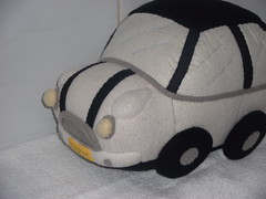 Marys' Mini Cooper (AngelaTiara) Tags: uk white car toy soft handmade stripes mary plate mini headlights plush cooper cuddly plushie vehicle motor etsy striped licence tyres vroom angelatiara
