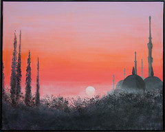 Turkish mosque (Sarah Sollom) Tags: sky sun sunlight india mist art archaeology acrylic sundown middleeast mosque minarets romanticsunset