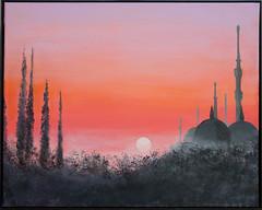 Turkish mosque (Sarah Sollom) Tags: sky sun sunlight india mist art archaeology acrylic sundown middleeast mosque minarets romanticsunset
