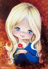 Vintage Big Eyed Girl Postcard (Sillyshopping) Tags: flowers blue red cute girl beauty illustration vintage spain 60s pretty sweet postcard spanish card 70s lovely picnik collectable bigeyed vintagecard sillyshopping