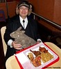 Seara (sea rabbit) and Dr. Takeshi Yamadar at Lunch Box Buffet restaurant in Manhattan, New York on December 28, 2011.  20111228 024