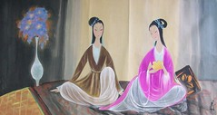 林風眠作宮女與花瓶圖 Court Ladies and the Vase, by Lin Fengmian