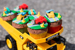 Diggers & Trucks, Oh my! (nancy_gb) Tags: road food boys yellow dessert cupcakes construction caterpillar cupcake trucks colourful asphalt diggers toppers cupcaketoppers