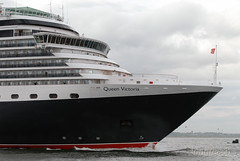 A Royal bow. (Longreach - Jonathan McDonnell) Tags: ireland dublin ship cruiseship cunard queenvictoria dublinport cruiseliner dsc0240 9320556 imo9320556
